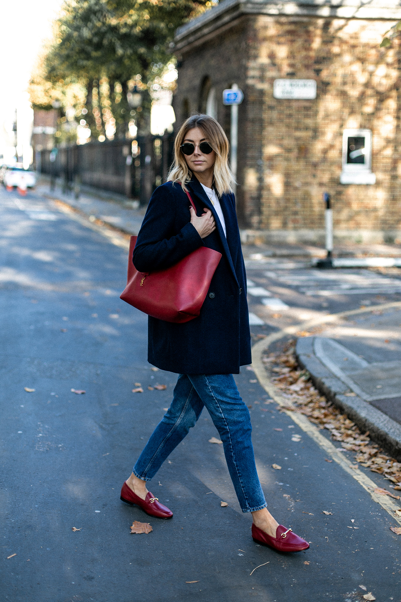 red bag and loafers 2