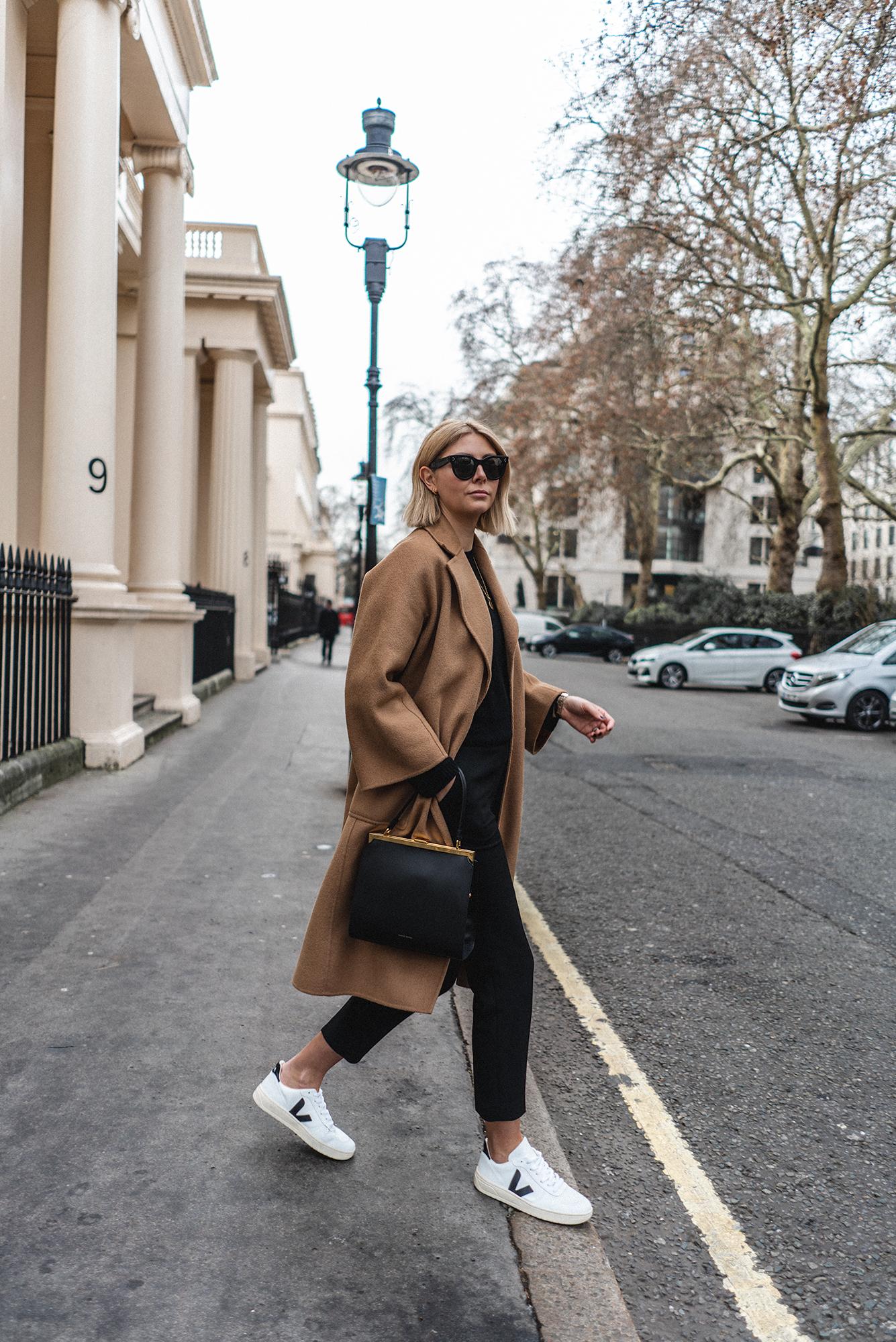 Camel Coat, Veja trainers, Mansur Gavriel Elegant bag
