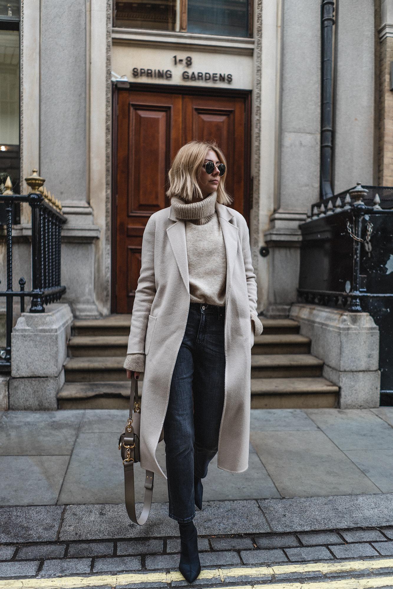 sezane cream coat, new bob hair-5