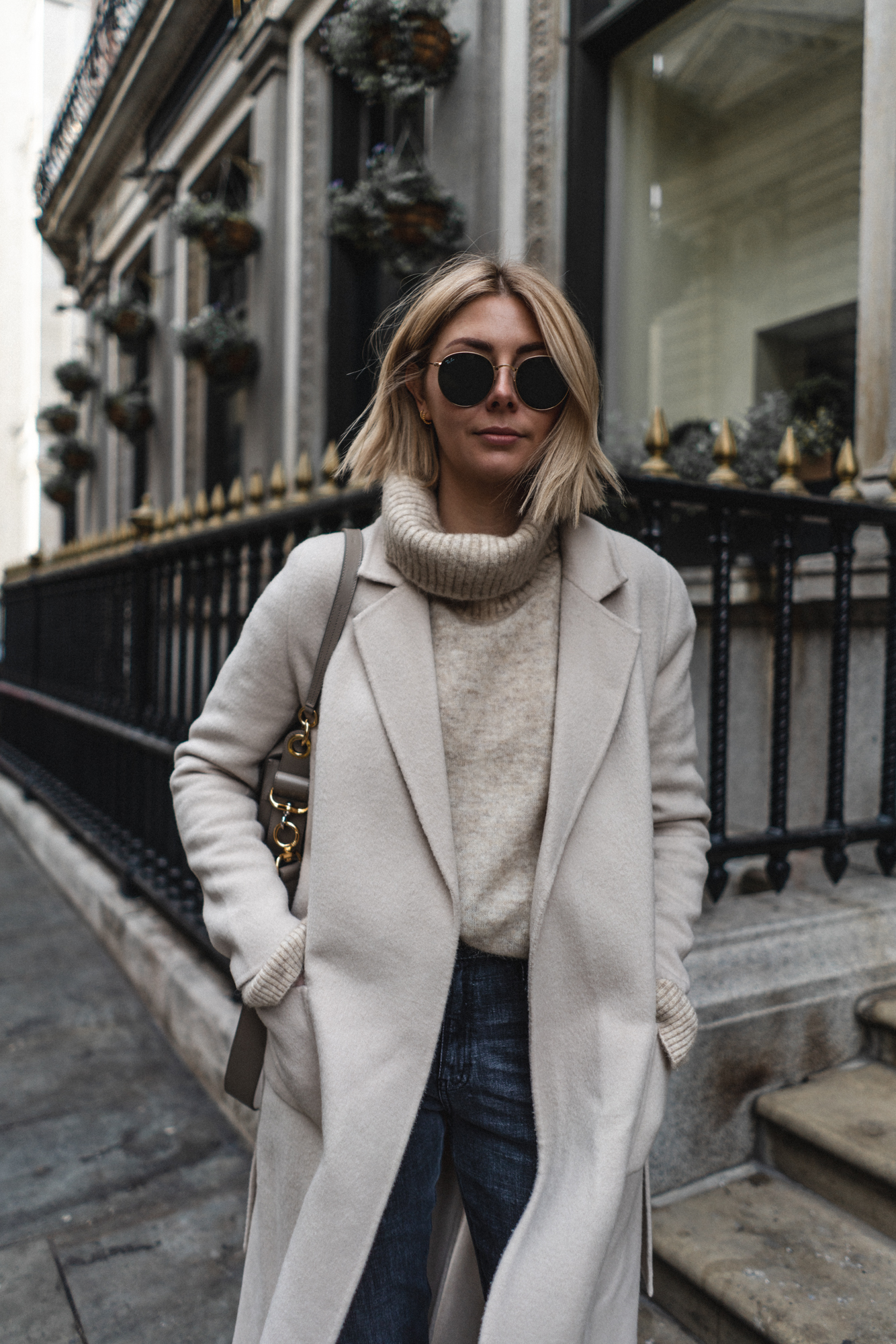 sezane cream coat, new bob hair