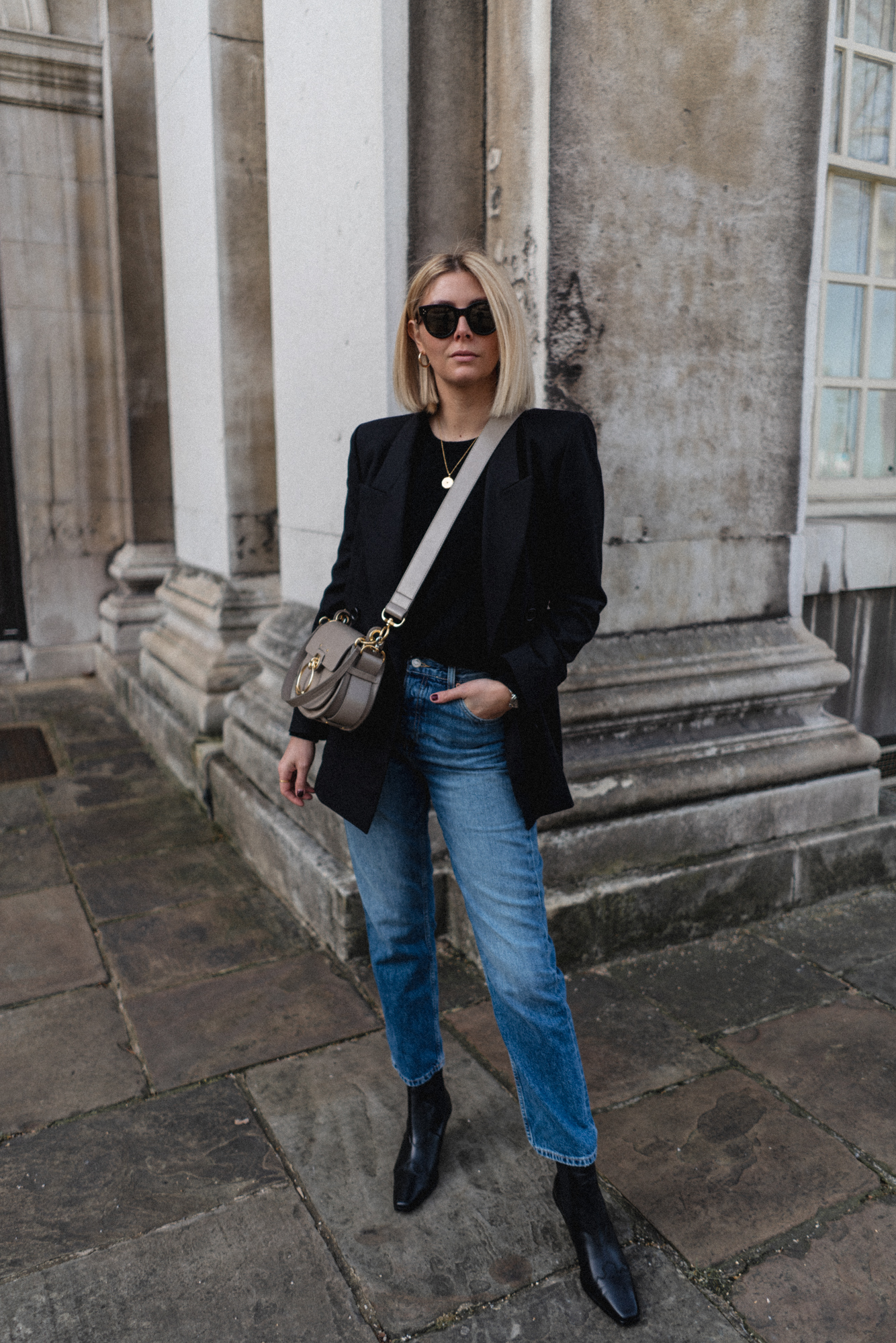 Black Blazer, chloe tess bag, topshop editor straight leg jeans, square toe western boots, chic outfit