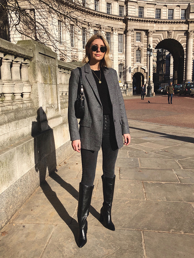 Emma Hill style, blazer, skinny jeans, knee high boots