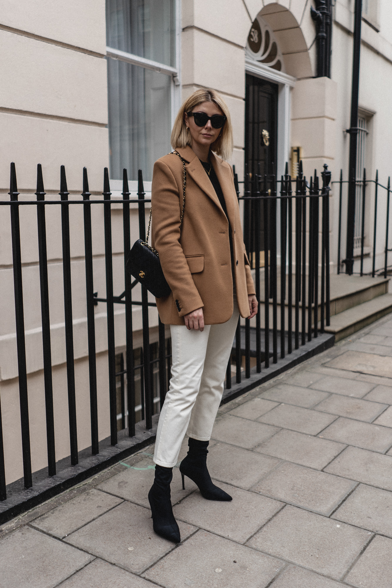 camel blazer cream jeans