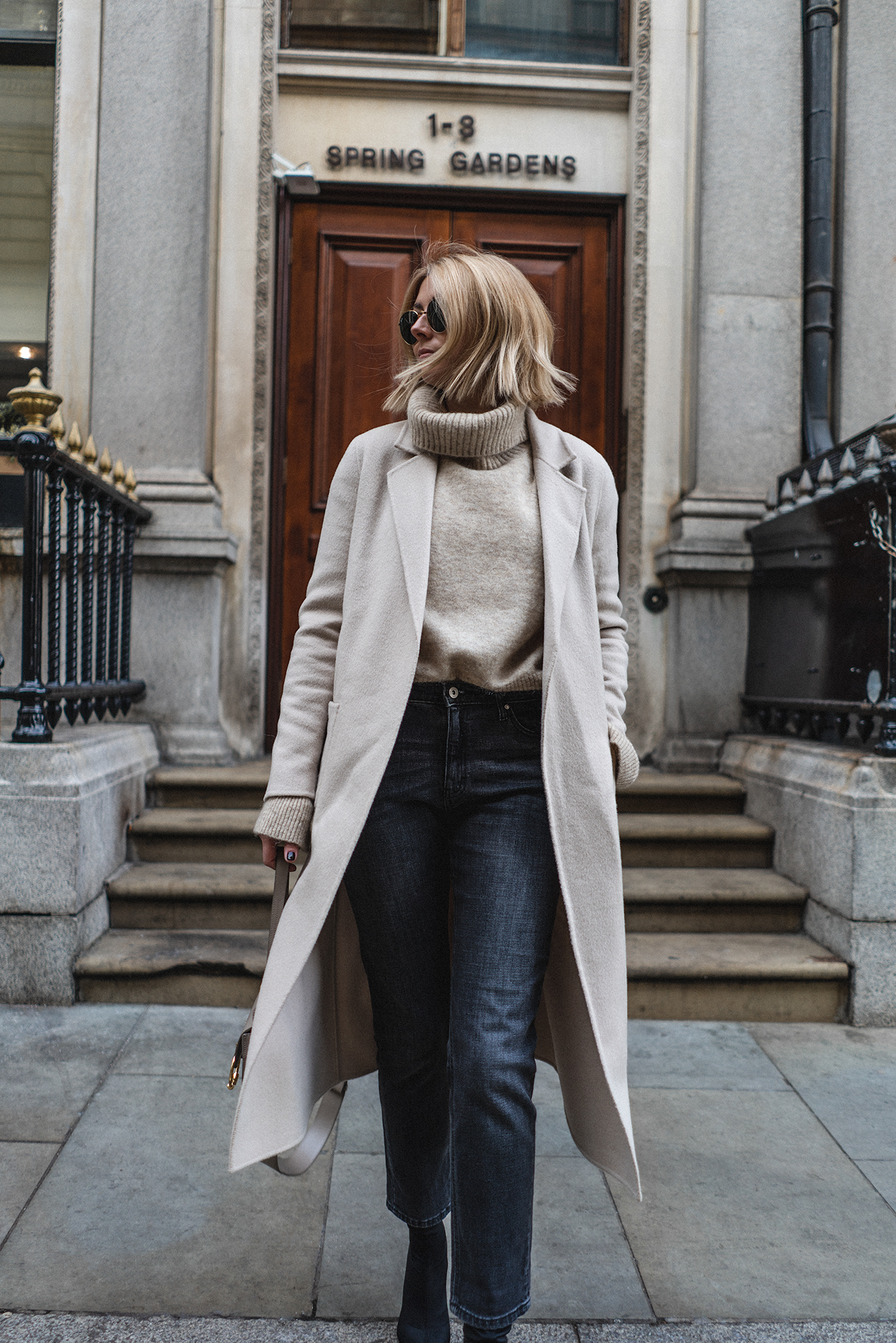 sezane cream coat, new bob hair-4