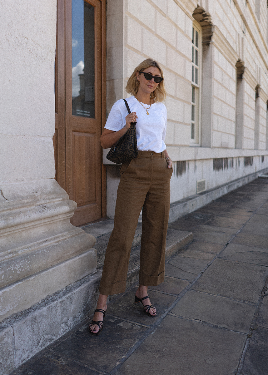White T-shirt, khaki wide leg trousers blog res
