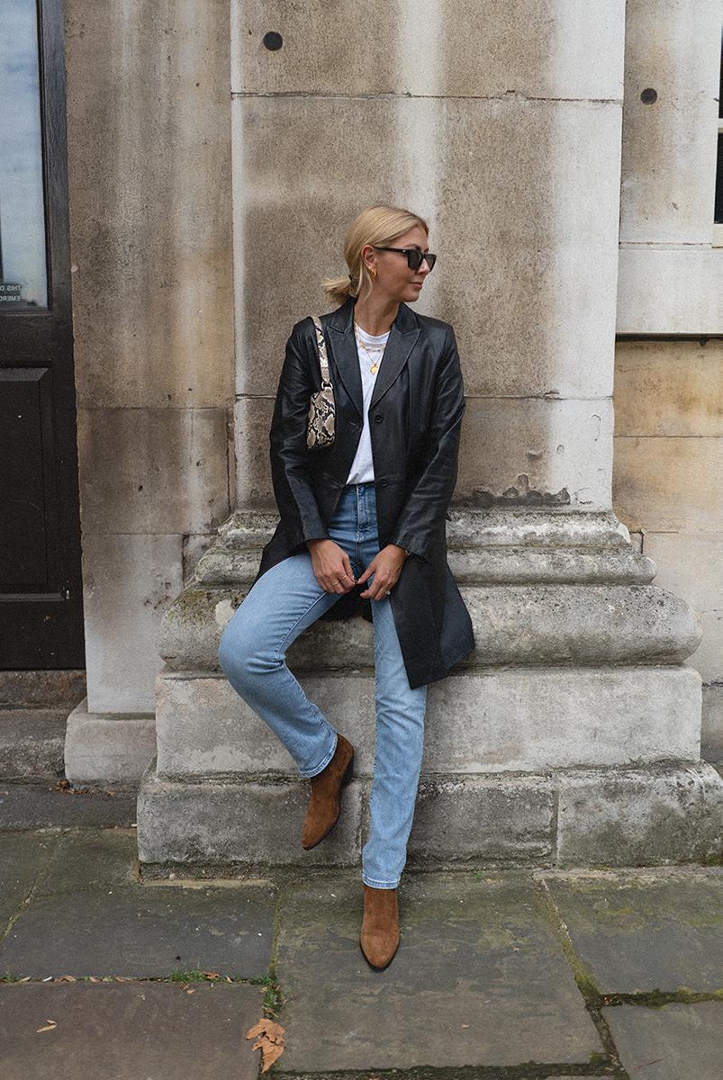 Emma Hill style, M&S vintage black leather coat, Levi's jeans, tan suede Saint Laurent west chelsea boots, Le Specs Sunglasses, white t-shirt, By Far Rachel bag, 90's inspired outfit