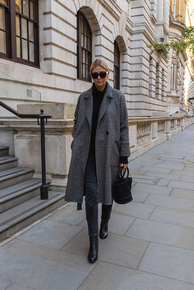 Emma Hill style. Grey wrap coat, black cashmere high neck jumper, black straight leg jeans, Dear Frances Spirit boots, Simon Miller suede Bonsai bag, Céline Baby Audrey sunglasses. Chic Autumn Winter outfit