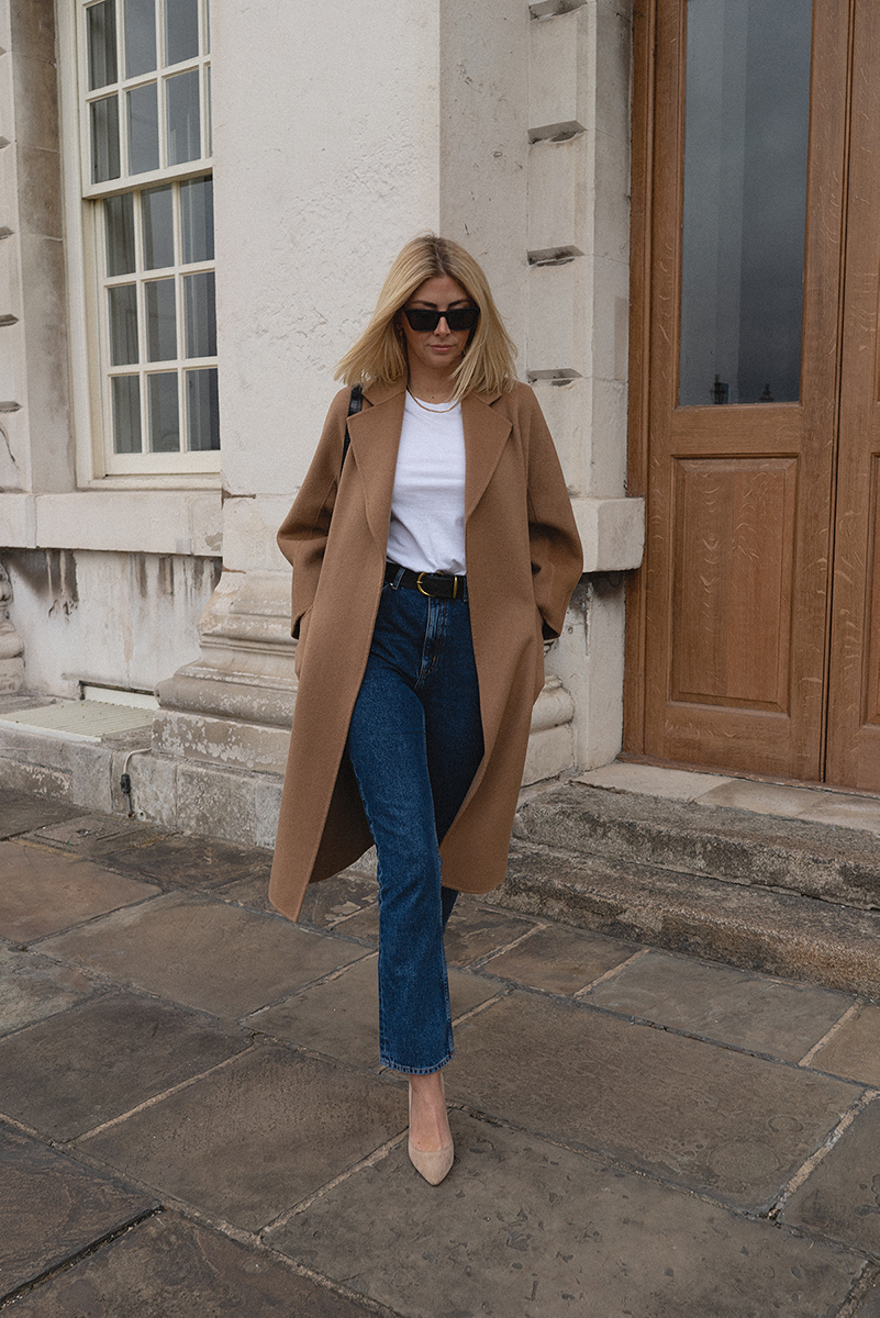 Emma Hill style. Jimmy Choo Romy Court shoes, The Curated camel coat & black leather mock croc bag, white t-shirt, dark blue straight leg jeans, chic autumn outfit
