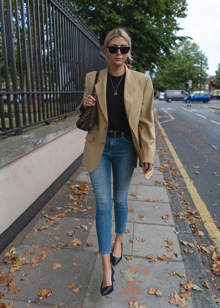 Vintage yellow blazer, black t-shirt, vintage Fendi baguette mamma bag, cropped skinny jeans, black leather court shoes, Emma Hill style_