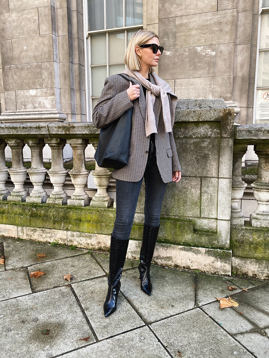 Emma Hill style, vintage mens check blazer, black skinny jeans, mock croc knee high boots, jumper over shoulders, large black hobo tote bag. Chic autumn fall outfit_