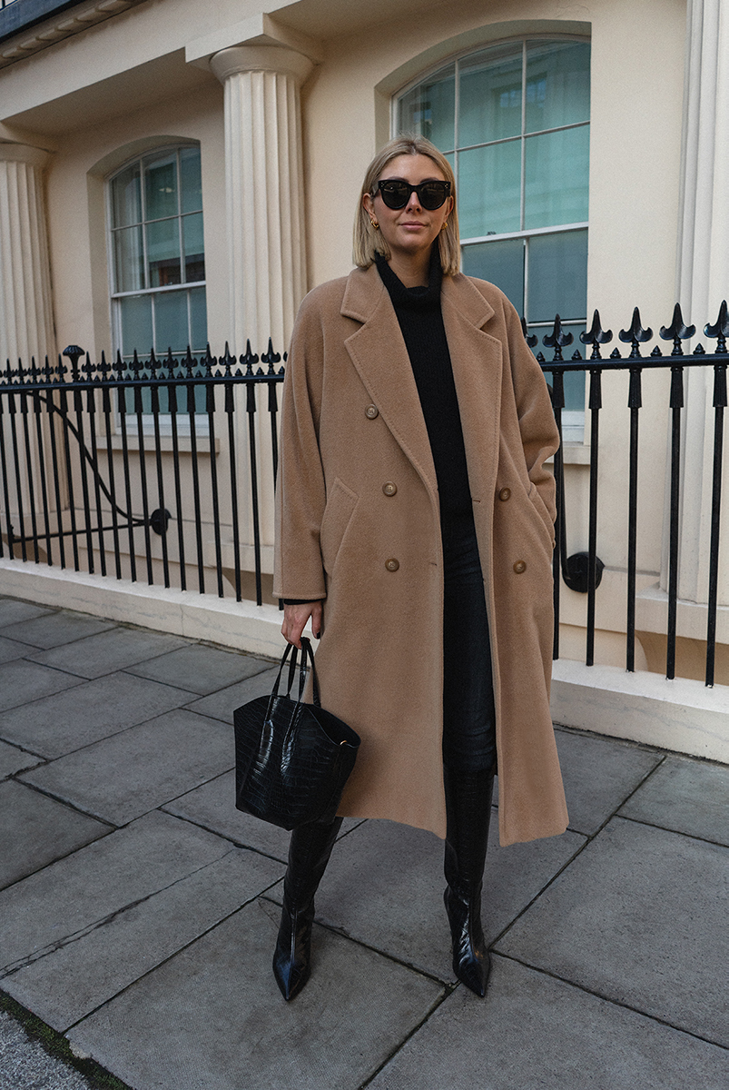 Emma Hill style. Vintage MaxMara 101801 icon camel coat, black mock croc knee high boots, black jumper, black skinny jeans, Celine baby audrey sunglasses, chic Autumn Winter outfit