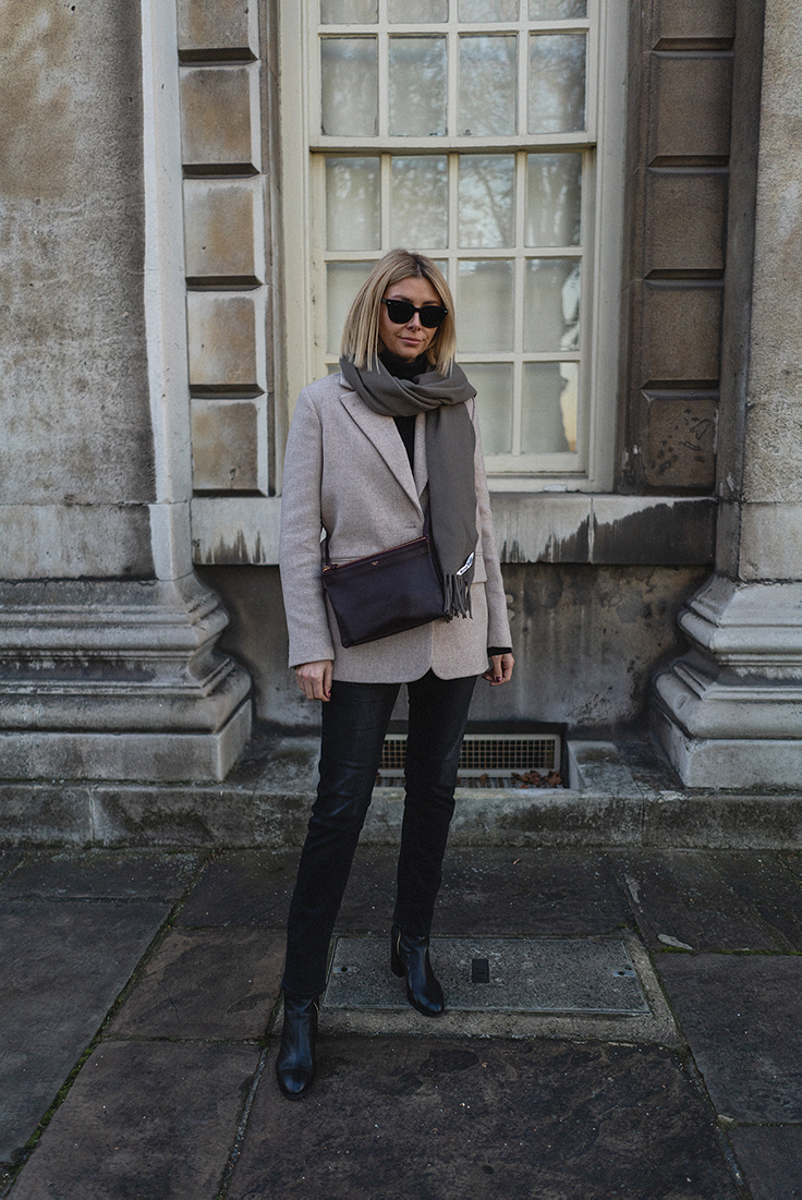 Emma Hill style, burgundy Celine Trio, beige wool blazer, Dear Frances Spirit boots, washed black straihgt leg jeans, taupe acne studios canada scarf, autumn outfit