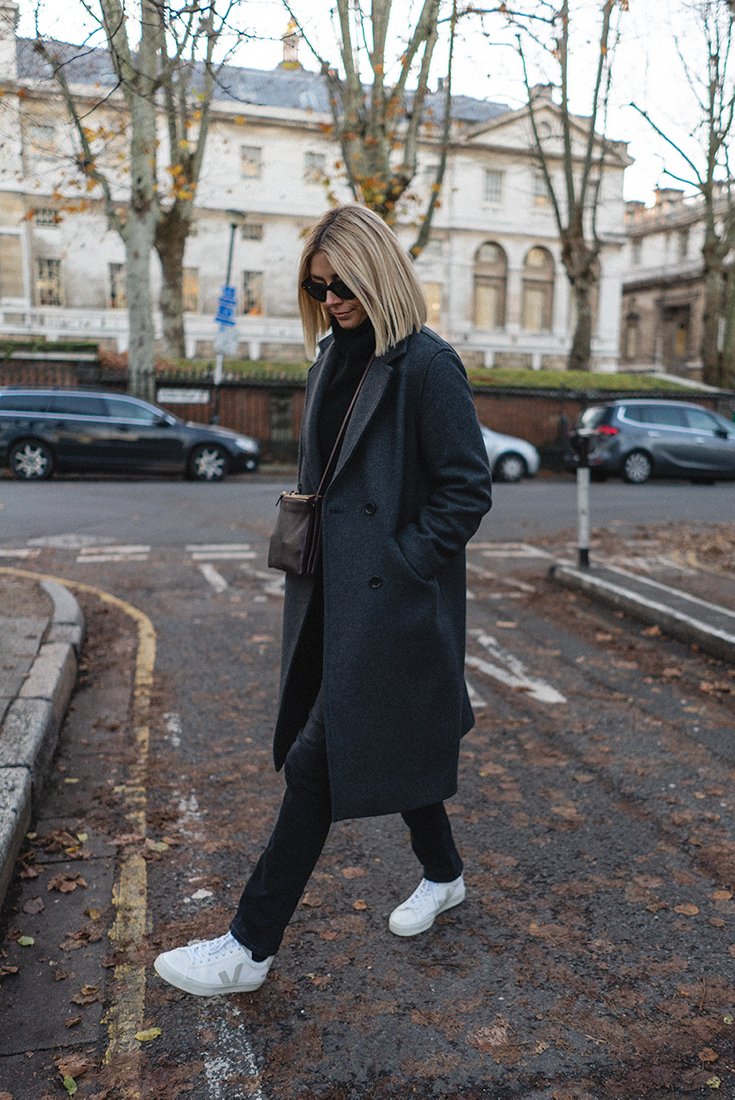 Emma Hill style, grey wool coat, burgundy leather Celine Trio, Veja Campo trainers, simple casual autumn winter outfit