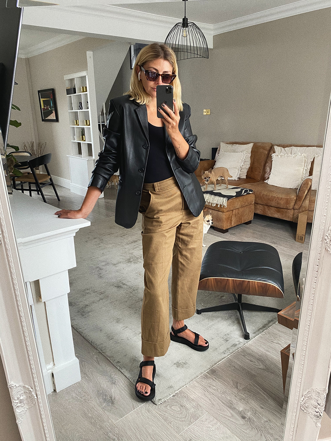 Vintage leather blazer, black vest, khaki wide leg cropped trousers, teva platform sandals, Spring outfit