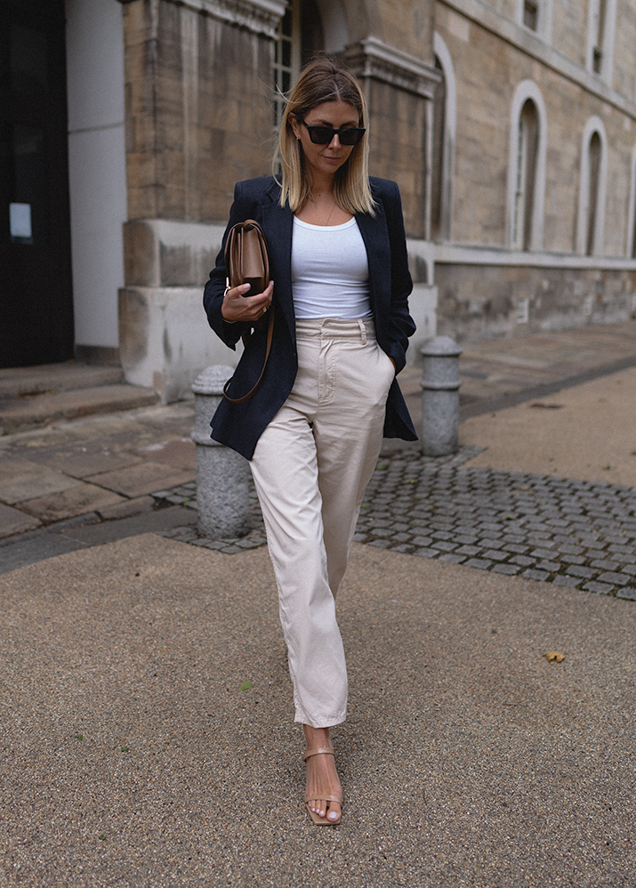 Emma Hill style, navy blue linen blazer, white basic vest tank top, beige chino trousers, By Far patent nude tanya mule sandals, Celine classic box bag in camel, chic outfit