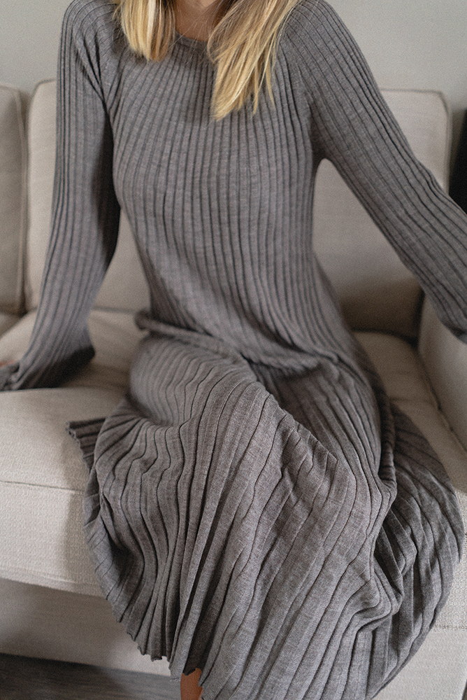 what to wear at home, greige ribbed dress blog
