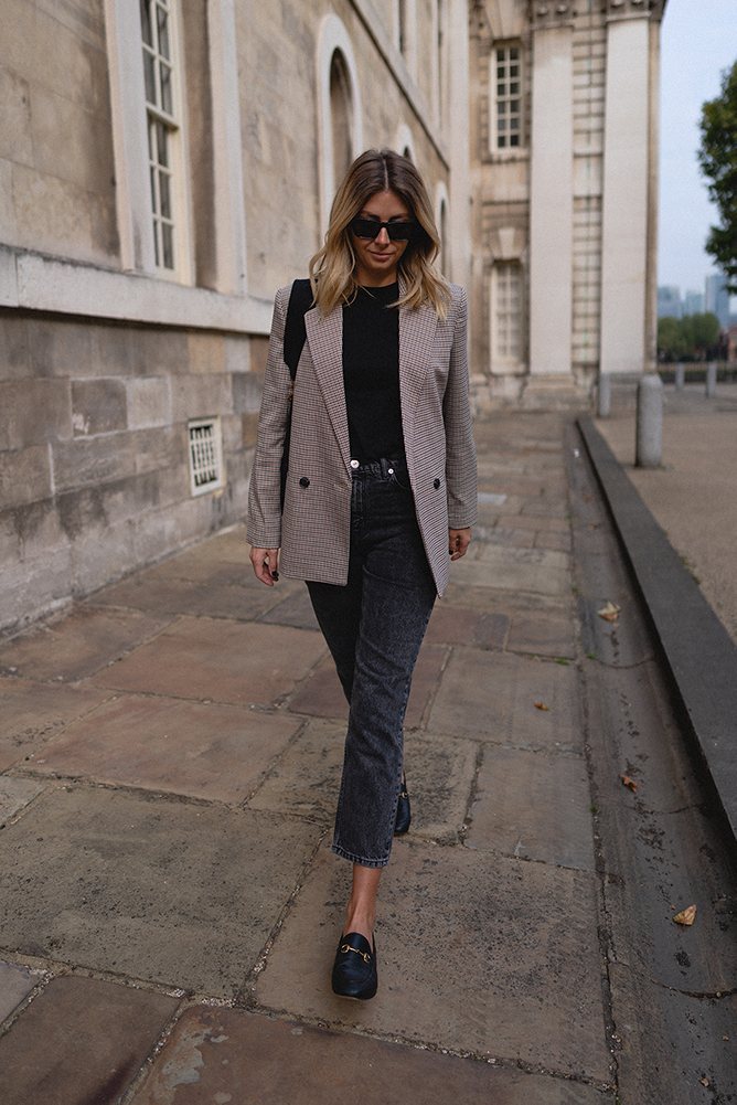 Emma Hill Autumn transitional style, checked blazer, black cropped jeans, Gucci loafers, black t-shirt