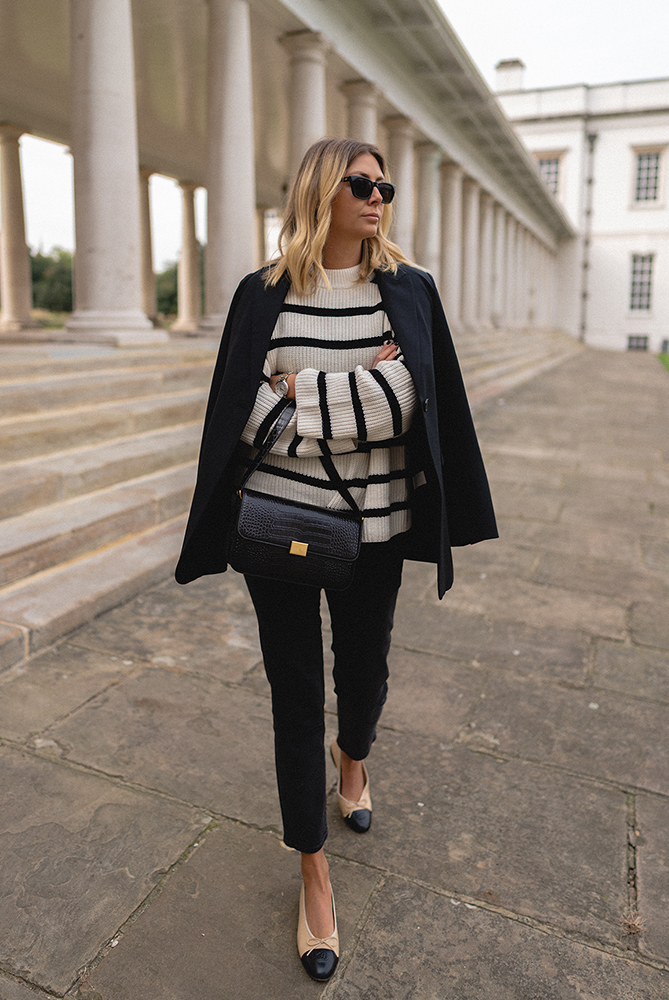 Emma Hill style, black blazer, on shoulders, white stripe jumper sweater, black cropped jeans, Chanel ballet flats, The Curated classic bag. Chic Autumn outfit