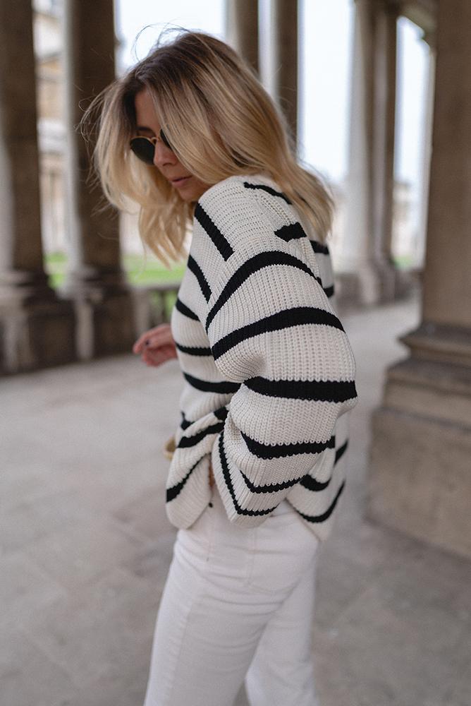 Emma Hill style, oversized white and black stripe jumper