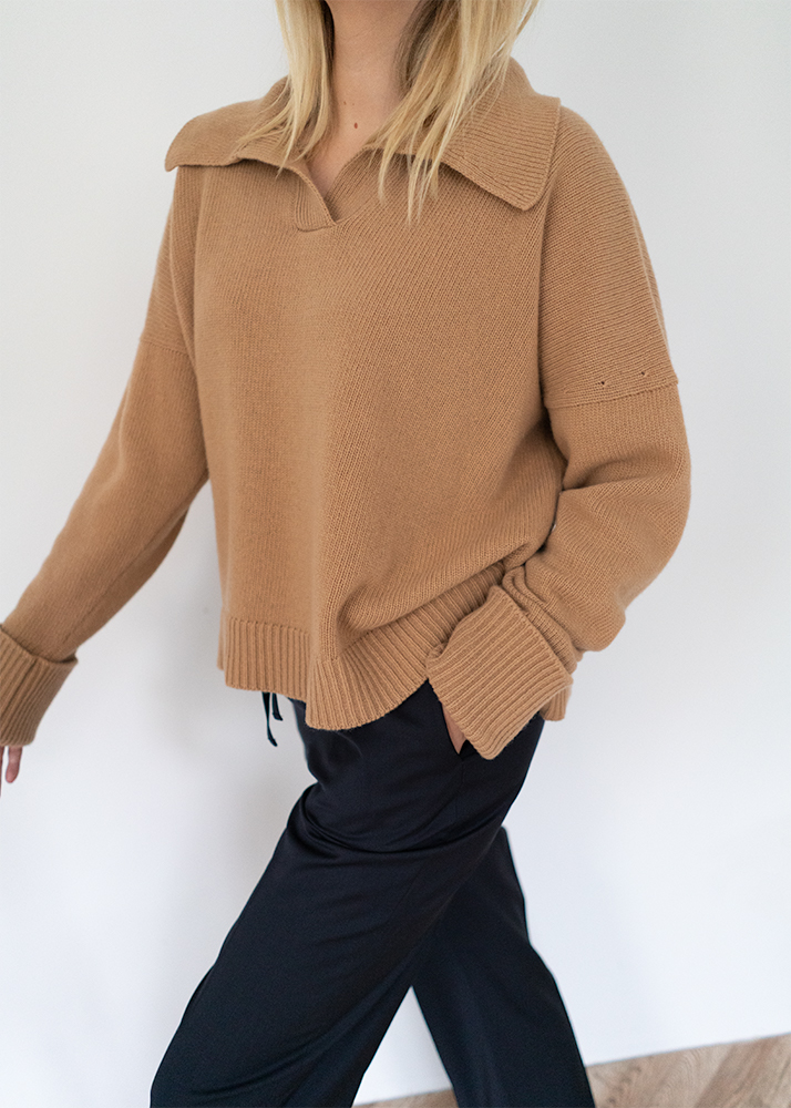 camel cashmere collared jumper