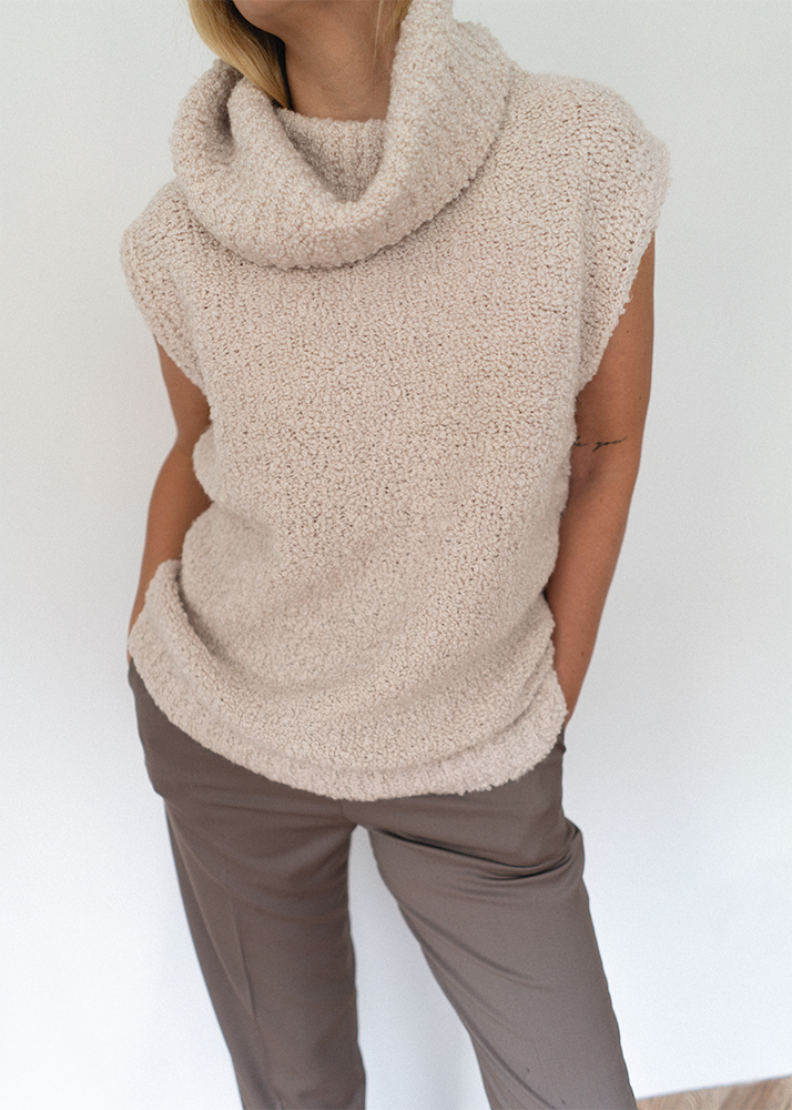 cream boucle wool sleeveless knit jumper