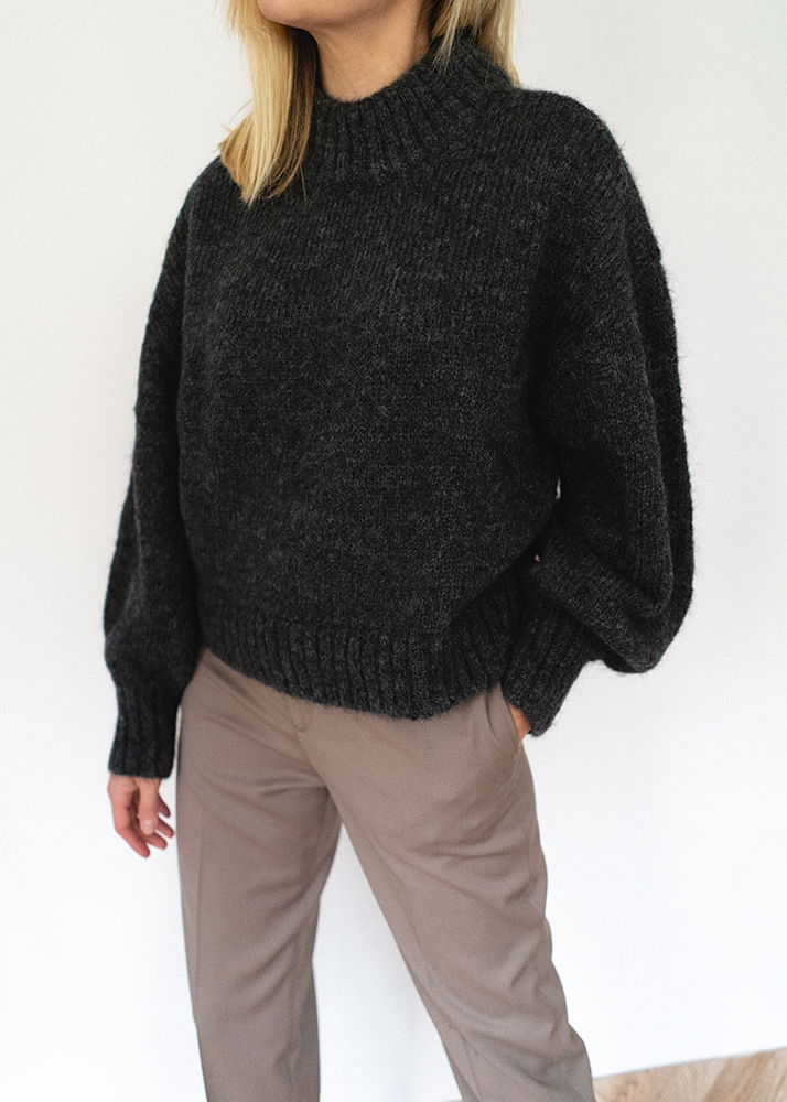 grey alpaca wool blend jumper