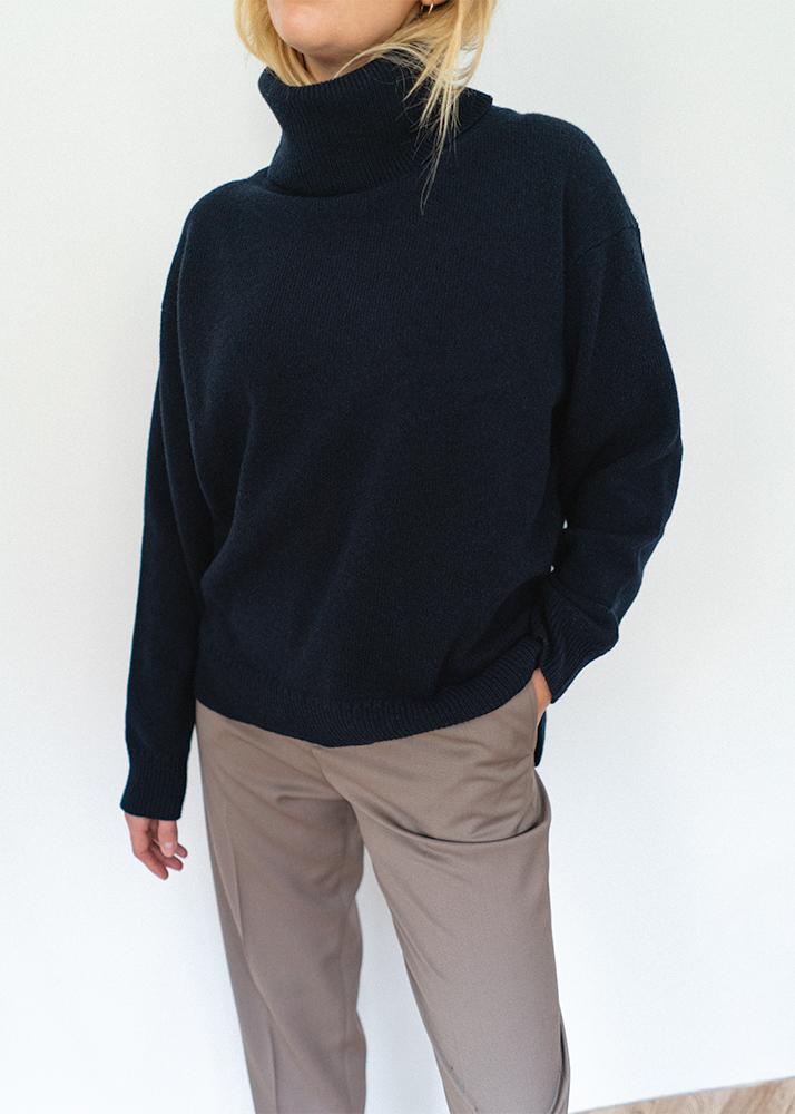 navy roll neck cashmere wool blend jumper