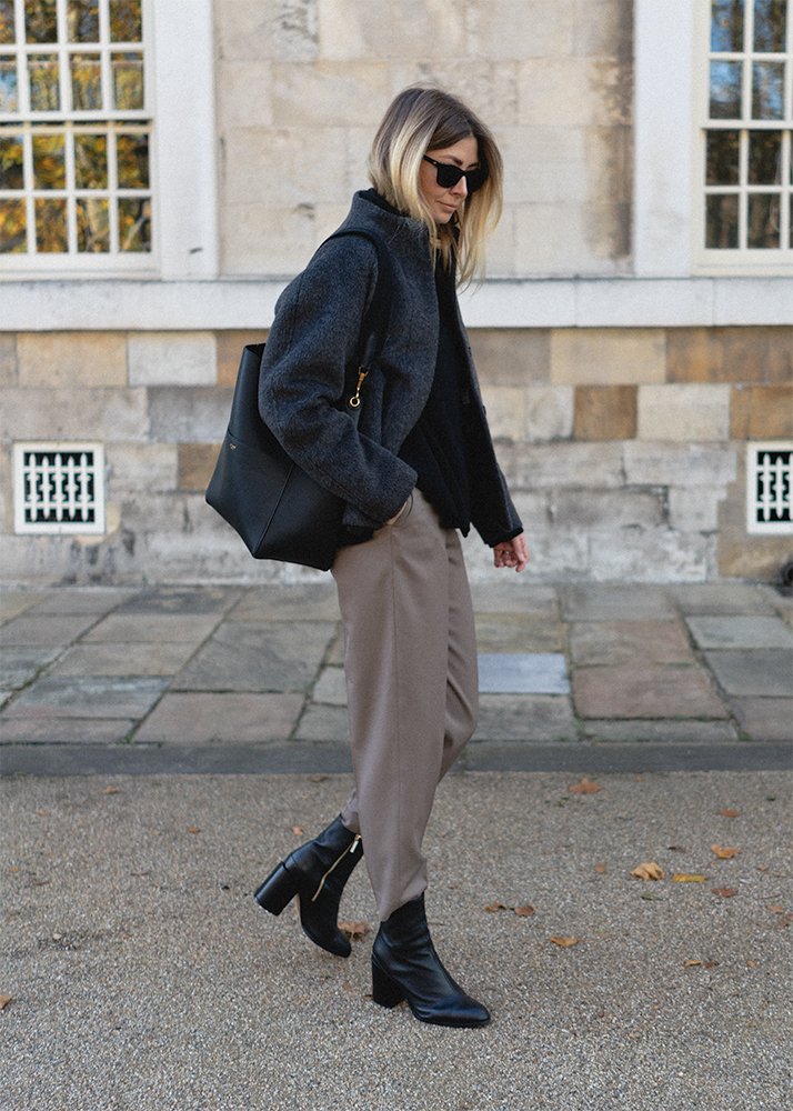 Emma Hill Autumn Fall style, grey alpaca jacket, taupe tailored trousers, Dear Frances black leather Spirit boots, Celine Seau Sangle bag, Chic Autumn Fall outfit