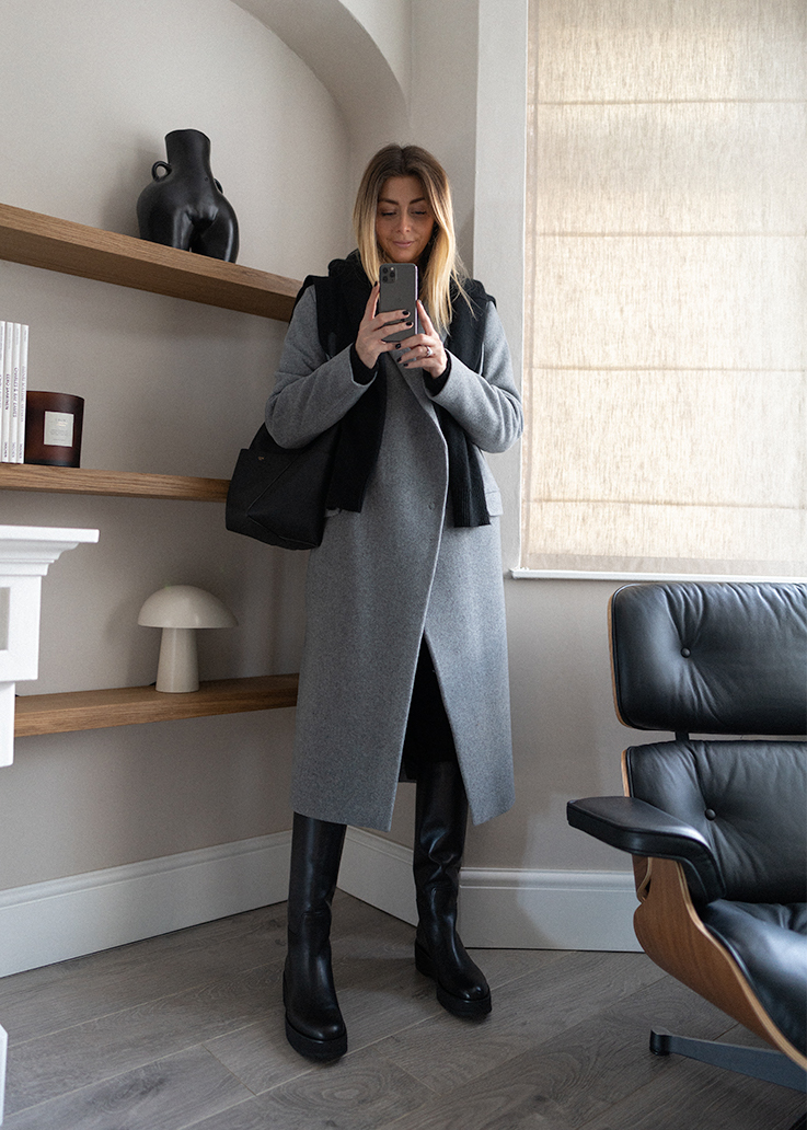 Emma Hill style. Grey wool coat, black The Row motorcycle boots