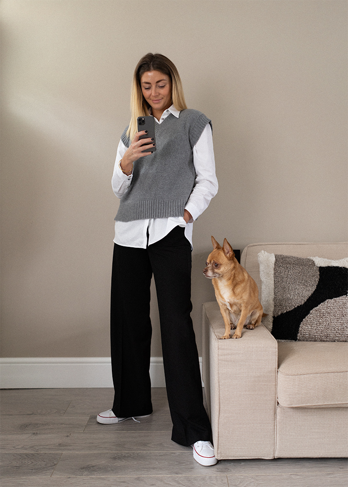 Grey sweater vest, white shirt, black wide leg trousers, white converse all star high tops, work from home outfit idea