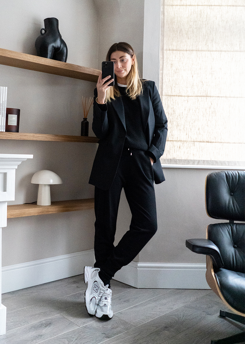 black cashmere joggers, black blazer, casual work from home outfit