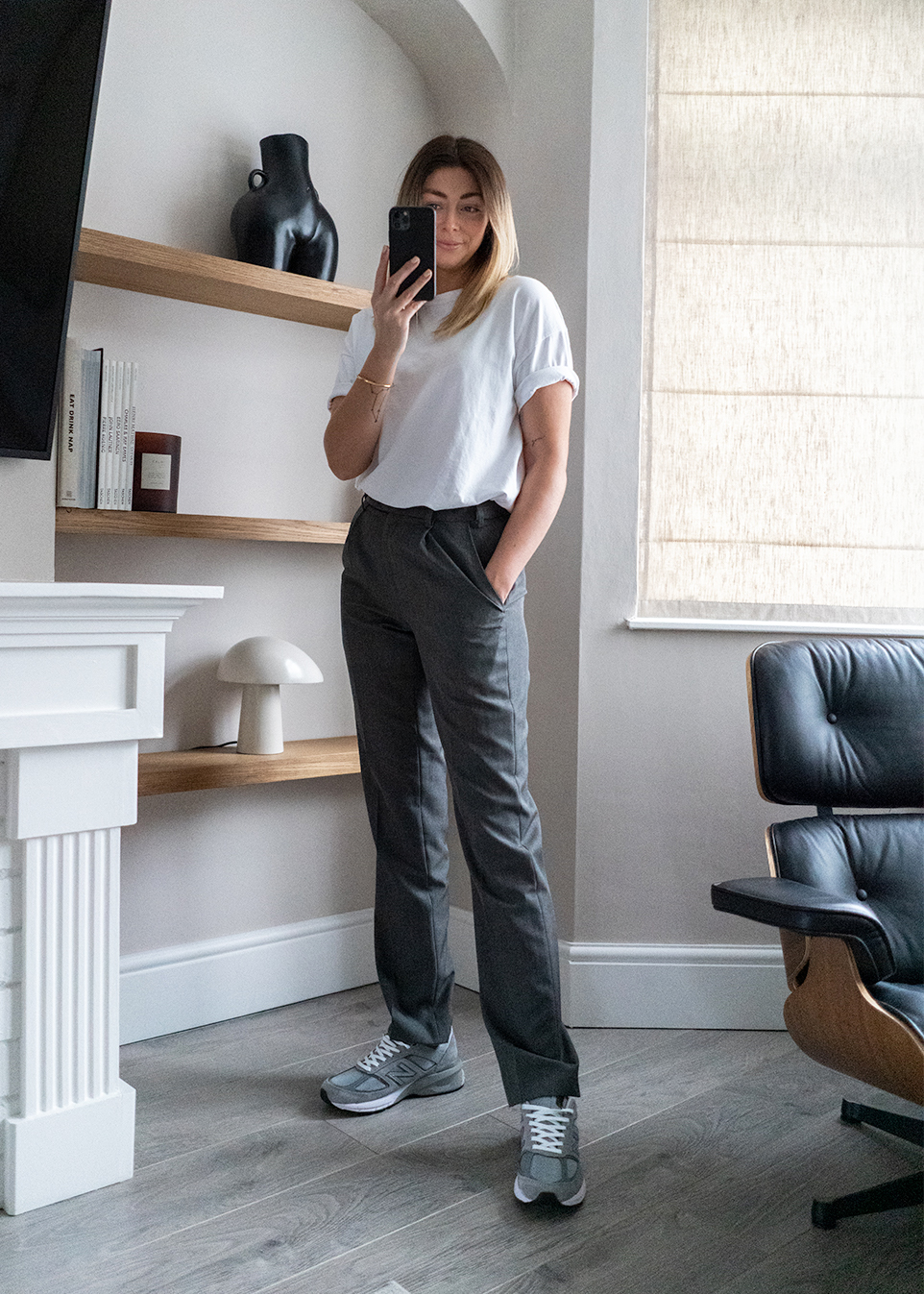 grey trousers, white t-shirt