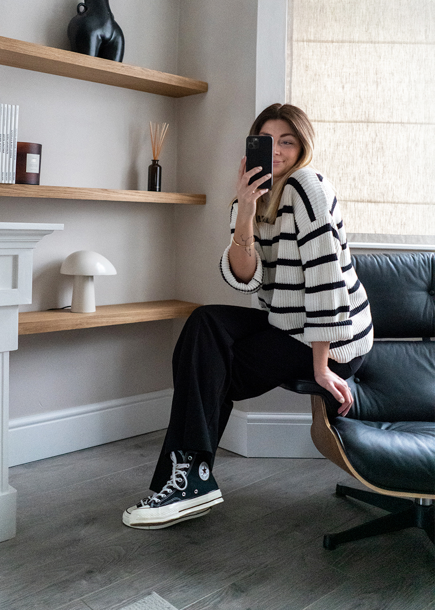 stripe jumper, black wide leg trousers, converse high tops