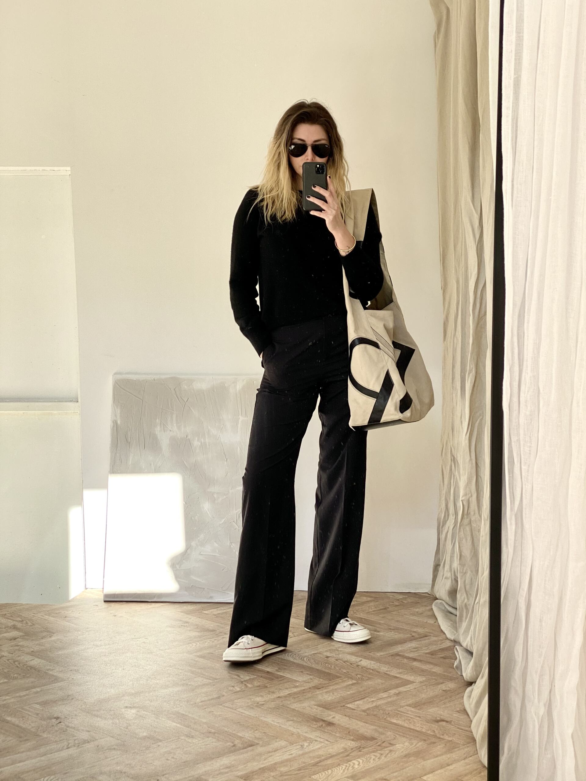 All black outfit with xl bag